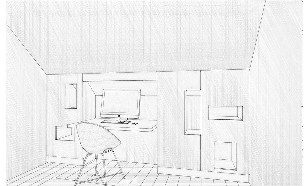 platsbyggd bänk ritning ~ studyarbetsrumplatsbyggd inredningskiss3dperspektiv